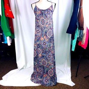Peach paisley boho maxi crochet open back dress